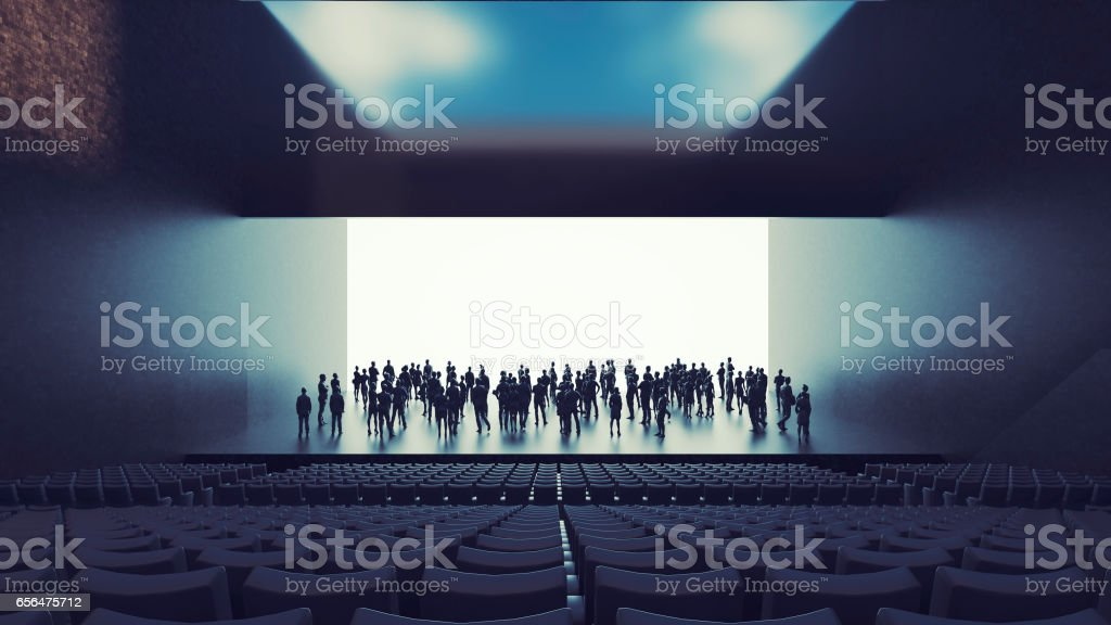 Business figures in office, presentation stock photo