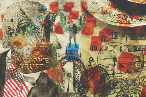 American capitalism business and finance collage conceptual illustration