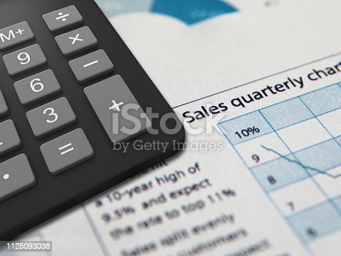 istock Business finance report sales calculator analysis 1125093038