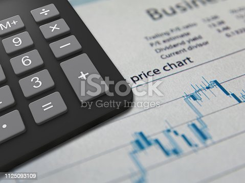 istock Business finance report sales calculator analysis 1125093109