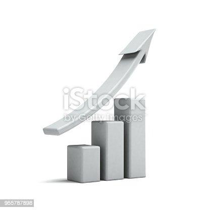 istock Business Finance White Graph Bar. 3D Rendering Illustration 955787898