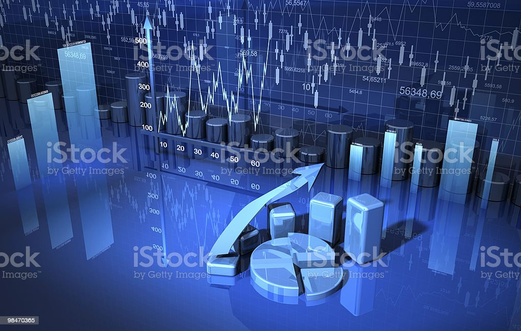 business finance xhart, diagram, bar, graph 3d royalty-free stock photo