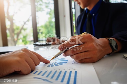 1032388356 istock photo Business financial, accountant discussing with partner are meeting to audit finance planning sales to meet targets set in next year. stock market concept. 1072011726