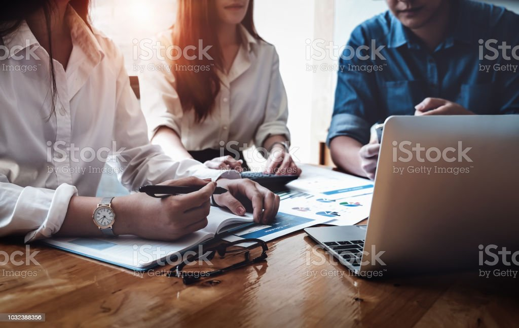 Business financial, Business accountant and discussing with partner are meeting to audit finance planning sales to meet targets set in next year. budget plan concept. stock photo