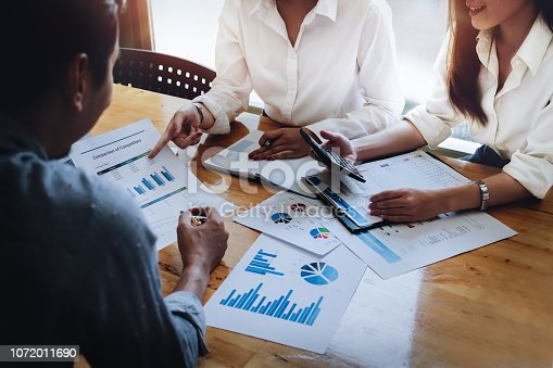 1032388356 istock photo Business financial, Business accountant and discussing with partner are meeting to audit finance planning sales to meet targets set in next year. budget plan concept. 1072011690