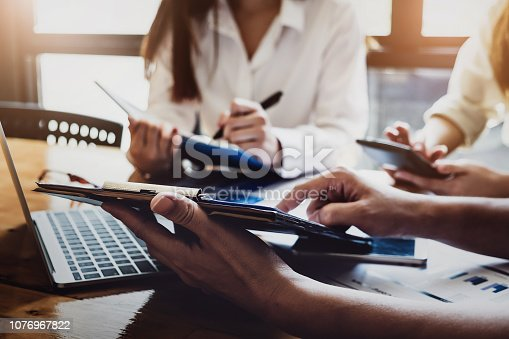 1032388356 istock photo Business financial, Business accountant and discussing with partner are meeting to audit finance planning sales to meet targets set in next year. budget plan concept. 1076967822