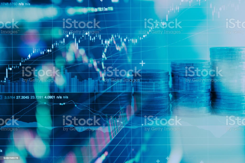 Business financial concept with double exposure of candle stick graph chart. stock photo