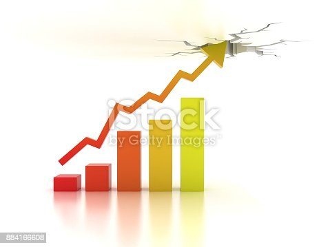 511722788istockphoto Business financial growth abstract 3d illustration, front view 884166608