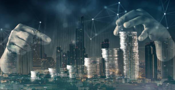 Business-Finanzideen Konzept Geld Münze Treppenstapel schwarzen Hintergrund – Foto