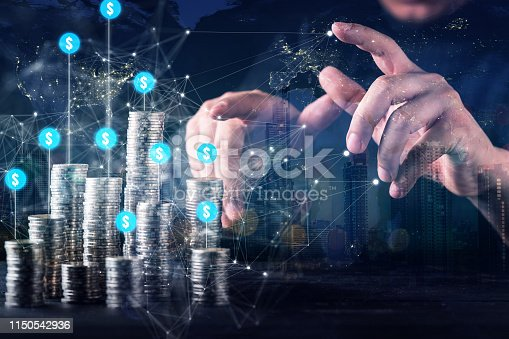 business financial investor hand control money coin stack growth profit strategy ideas concept with virtual icon chart diagram