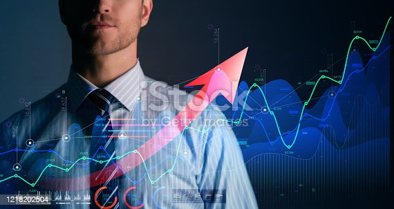 1127866562 istock photo business financial technology  businessman formal suit hand control virtual futuristic device screen double exposure stock market result chart successful growth ideas concept 1218202504