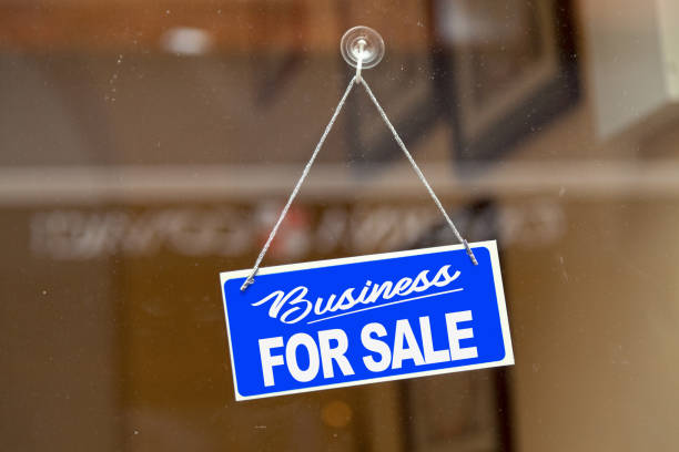 Business for sale - For sale sign stock photo