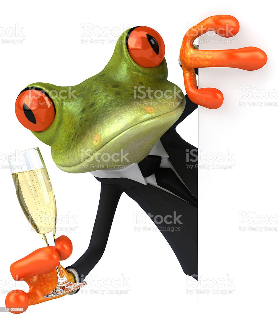 Business Frog and champagne royalty-free stock photo