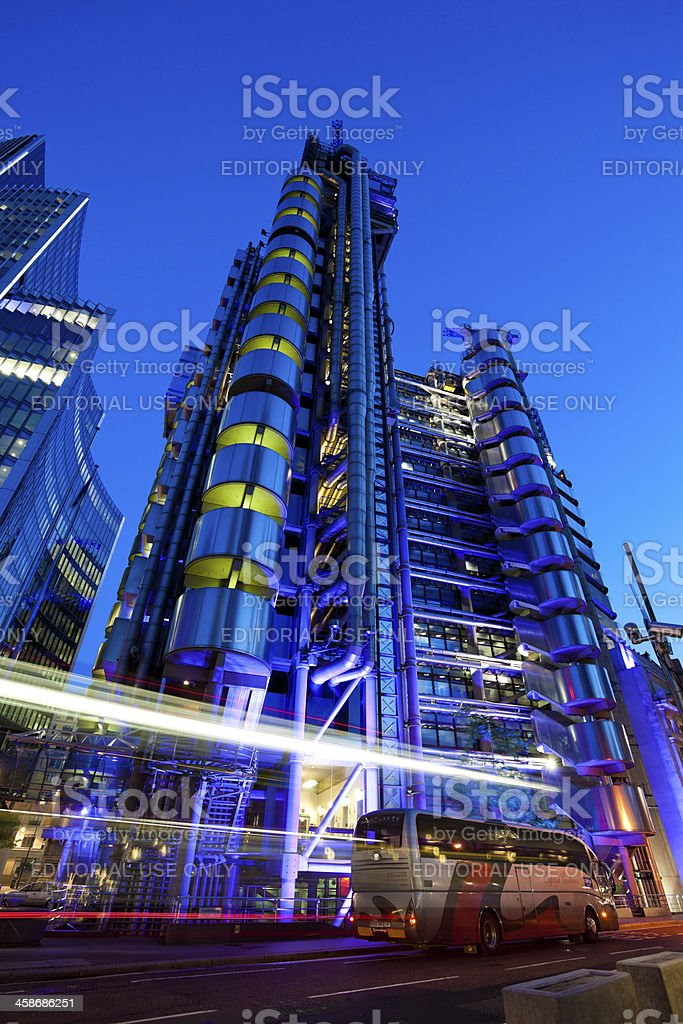 Business Futuristic Buildings at Night, City of London royalty-free stock photo