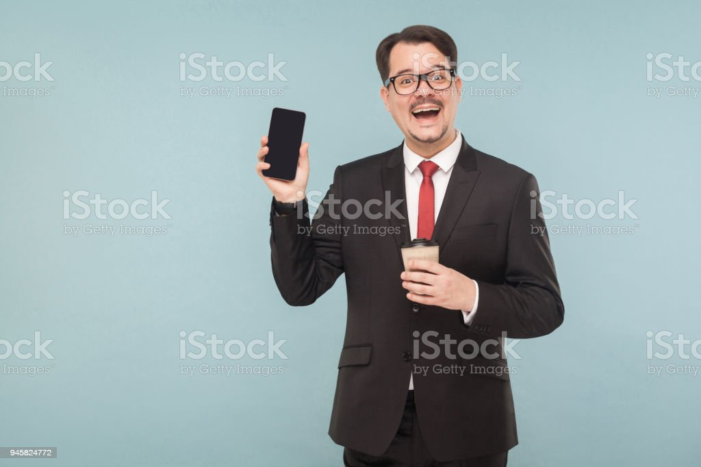 Business, gadgets,technologies. Man showing new phone stock photo