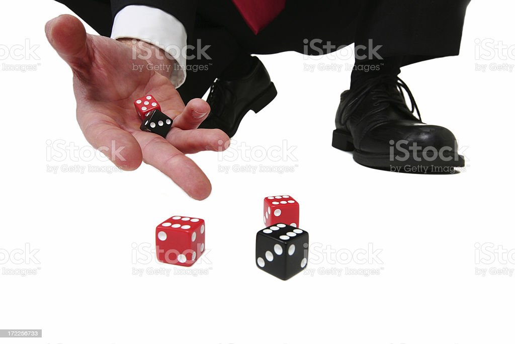 Business Gamble Dice Isolated on White Background stock photo