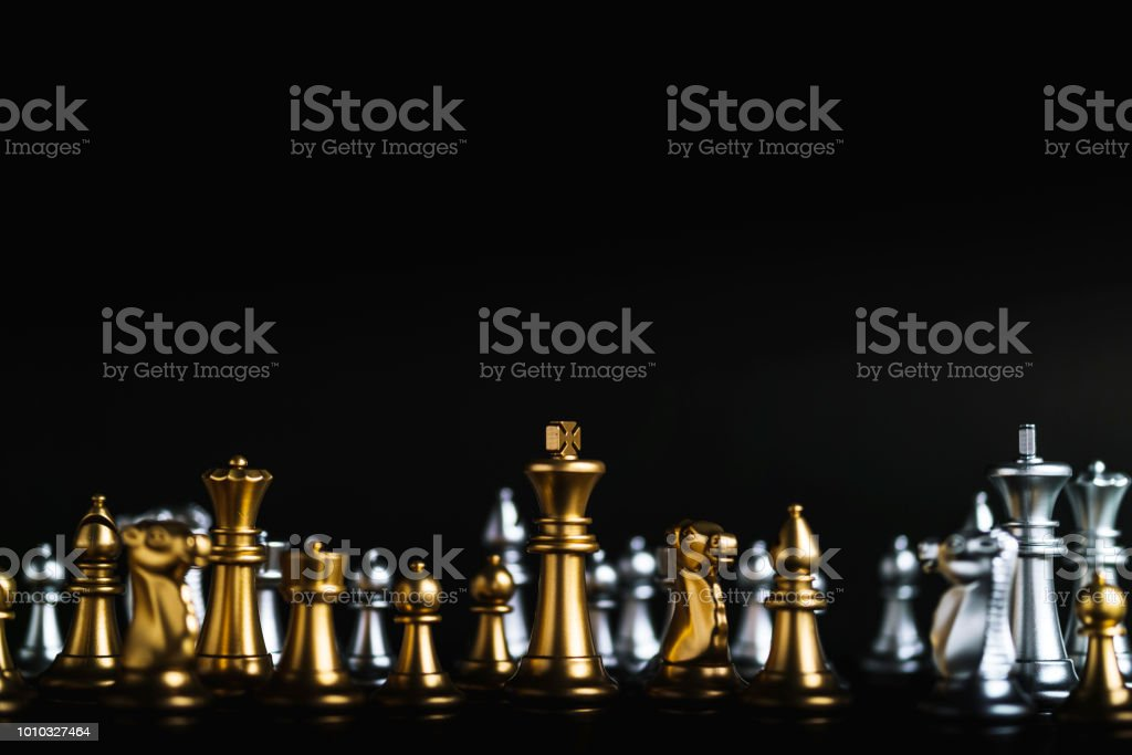 business game competitive strategy with chess board game on black...