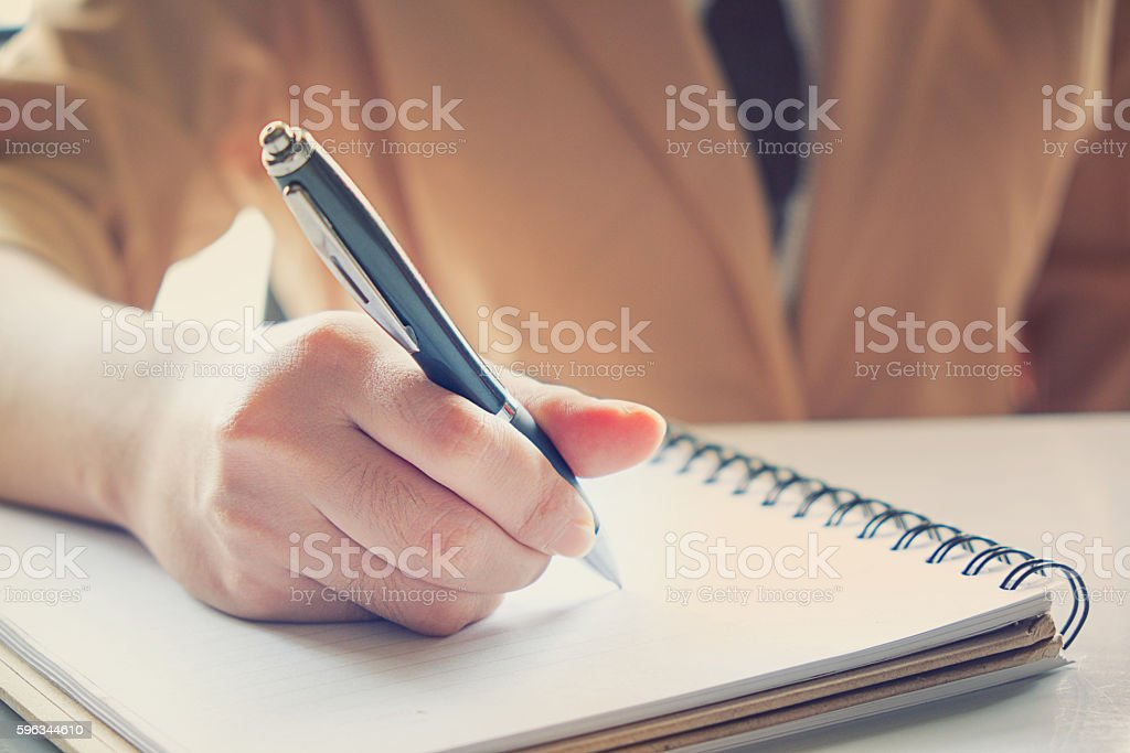 Business girl Hand write note inspire. royalty-free stock photo