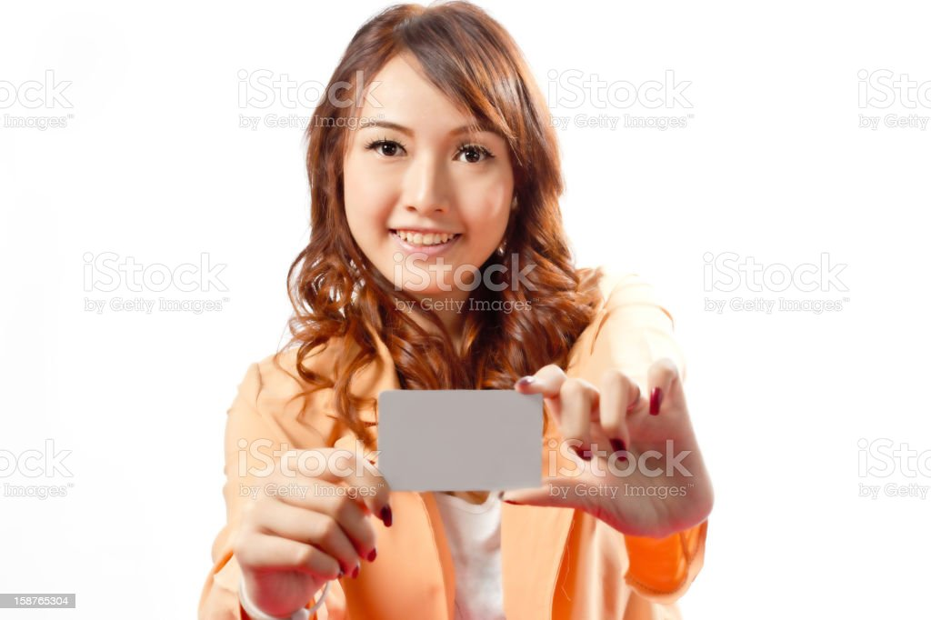 Business girl on during using Credit card royalty-free stock photo