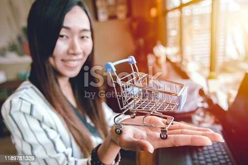 Business girl smiling with shopping cart in her hand for online buy and sale concept.