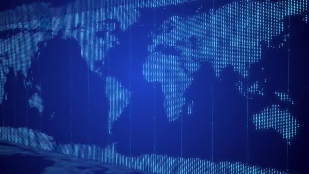 dijital ızgara ile iş küresel ağ dünya haritası arka plan - küresel ticaret stok fotoğraflar ve resimler