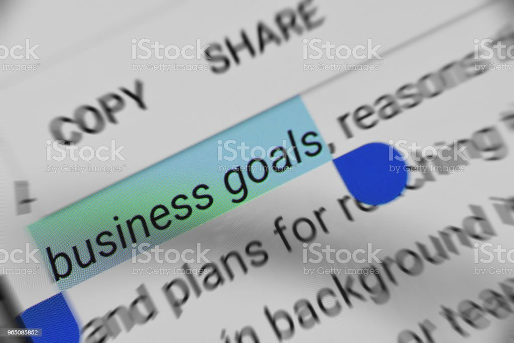 Business Goals information on mobile device royalty-free stock photo