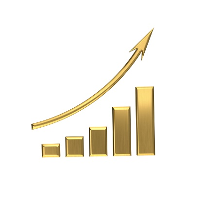 istock Business Golden Growth Bar Graph Curve. 3D Render Illustration 889846012