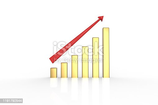600166766istockphoto Business graph 3D Render image in gold color 1191792544