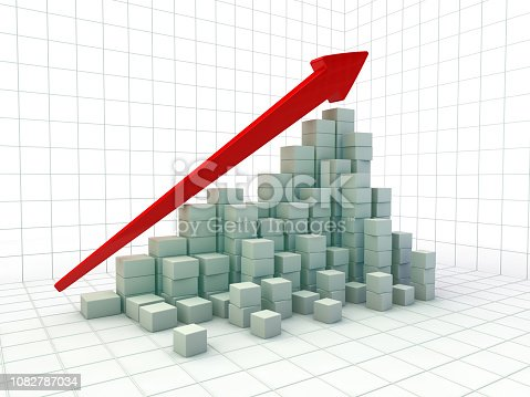 istock Business graph and growth chart. 3D 1082787034
