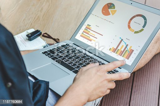 801895196 istock photo business graph and laptop 1157760684
