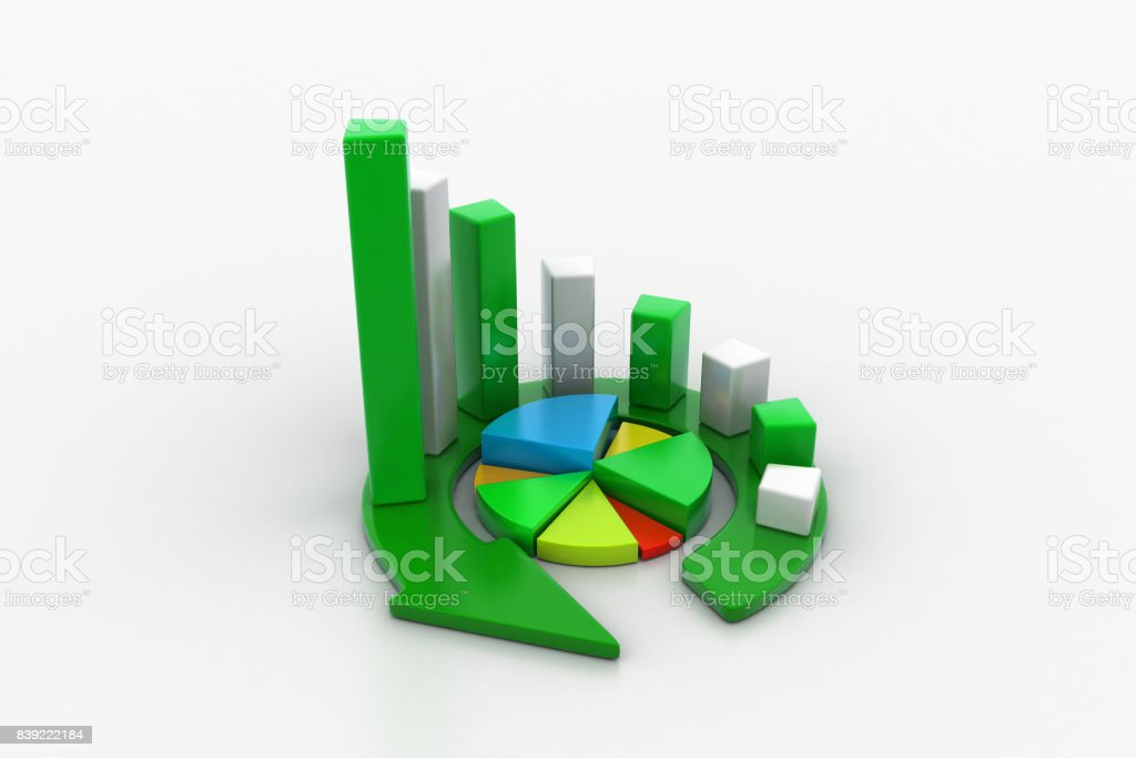 Business graph and pie chart stock photo