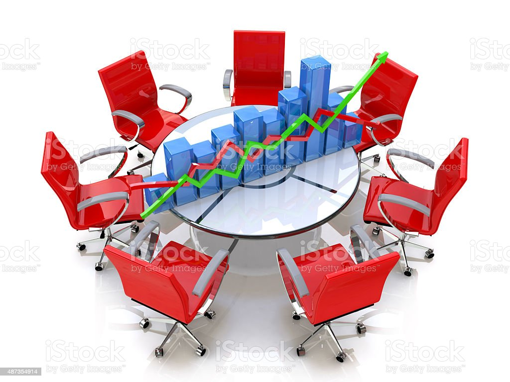 Business graph, chart at the round table and red chairs圖像檔