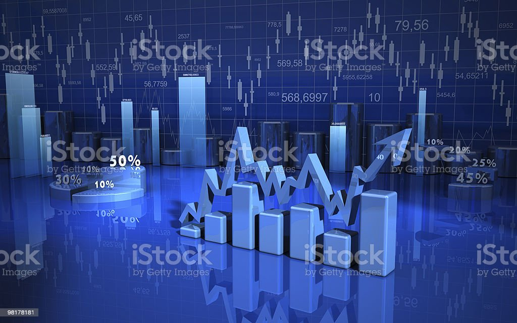 business graph, chart, diagram 3d royalty-free stock photo