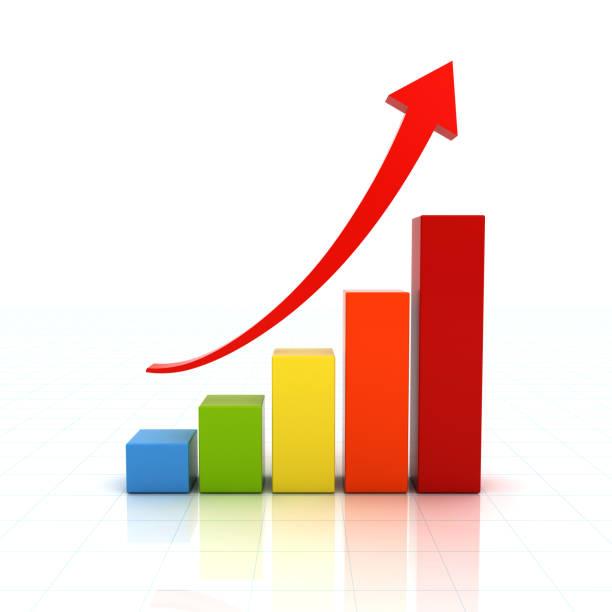 business graph chart growing - diagramma a colonne foto e immagini stock