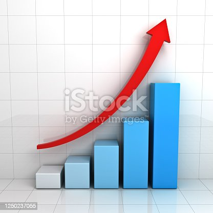 1014755036 istock photo Business graph chart with red rising arrow over white background with reflection 1250237055