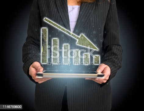 527033580 istock photo Business Graph Concept on Tablet with Hologram 1146759600