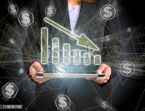 527033580 istock photo Business Graph Concept on Tablet with Hologram 1146761792