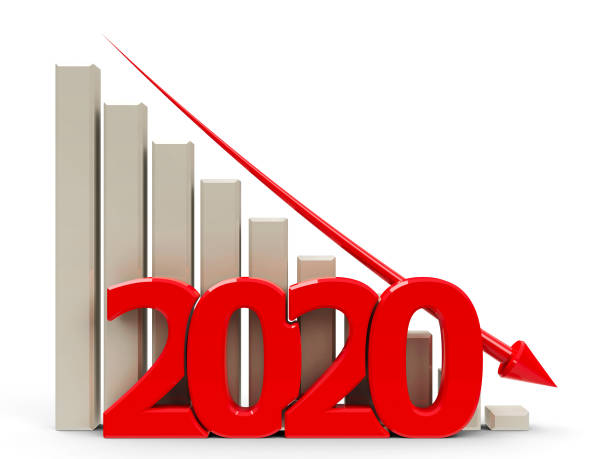 Business graph down 2020 stock photo