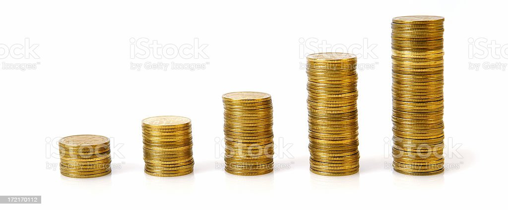 Business graph made of coins on a white background stock photo