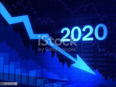 1004788900 istock photo Business graph, 2020, Moving down, Crisis 1181910756