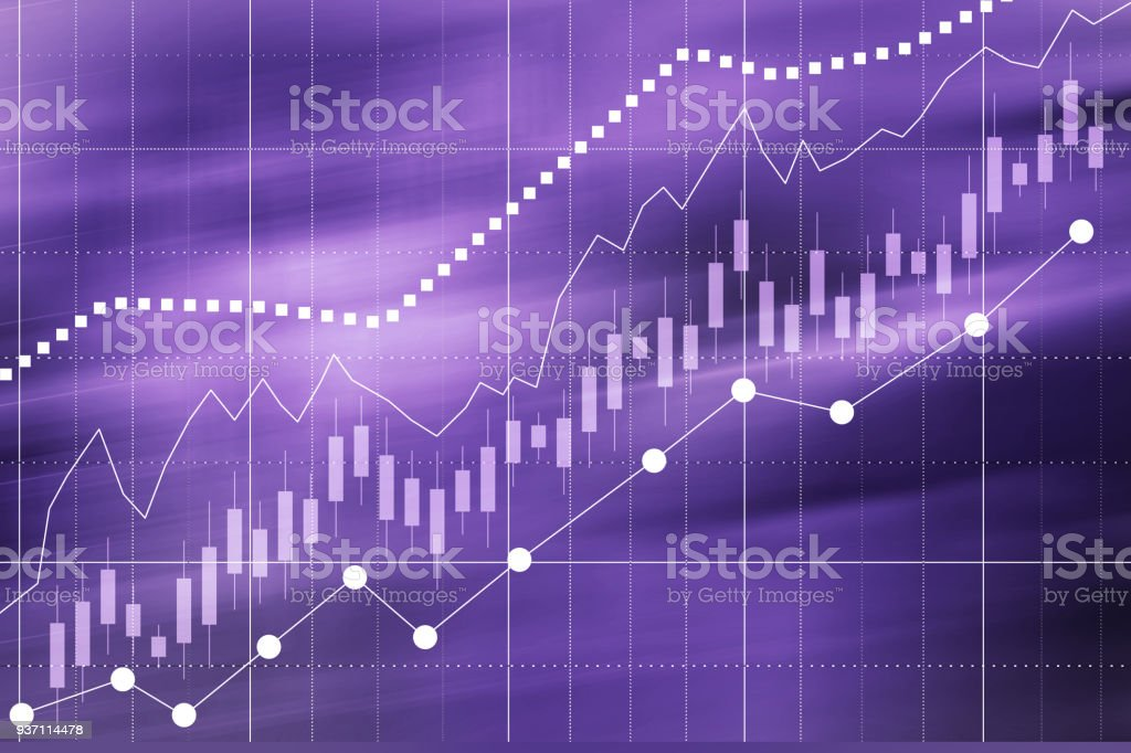 Business graph of growth, development in the company, on the stock exchange, corporation. Ultra Violet Color 2018 year. stock photo