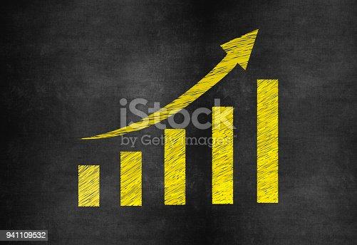 527033580 istock photo Business Graph on Blackboard Background 941109532
