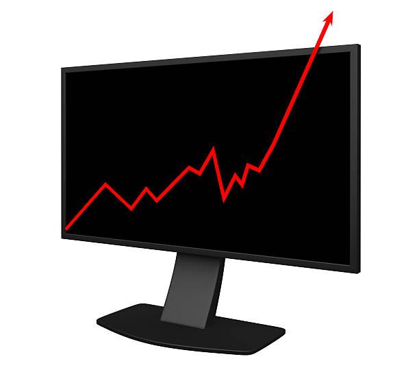Gráfico de negocios en pantalla - foto de stock