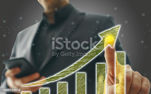 istock Business Graph on Touch Screen 1068533314