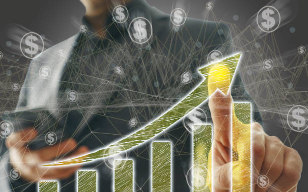 Business Graph on Touch Screen stock photo