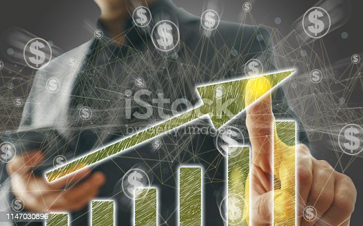 istock Business Graph on Touch Screen 1147030896