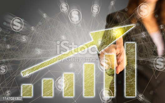 istock Business Graph on Touch Screen 1147031302
