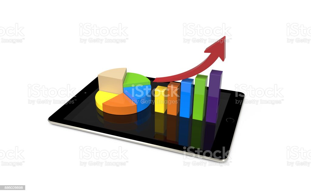 Business graph up and pie chart on digital tablet stock photo