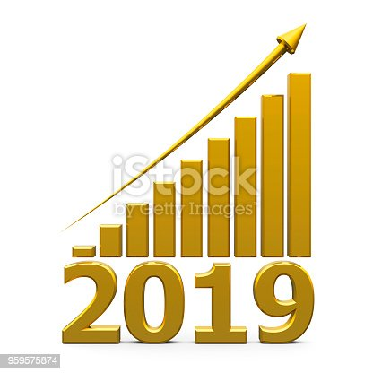 istock Business graph up with 2019 959575874