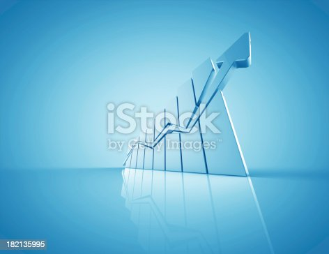 istock Business graph with 3D chart with upward arrow 182135995